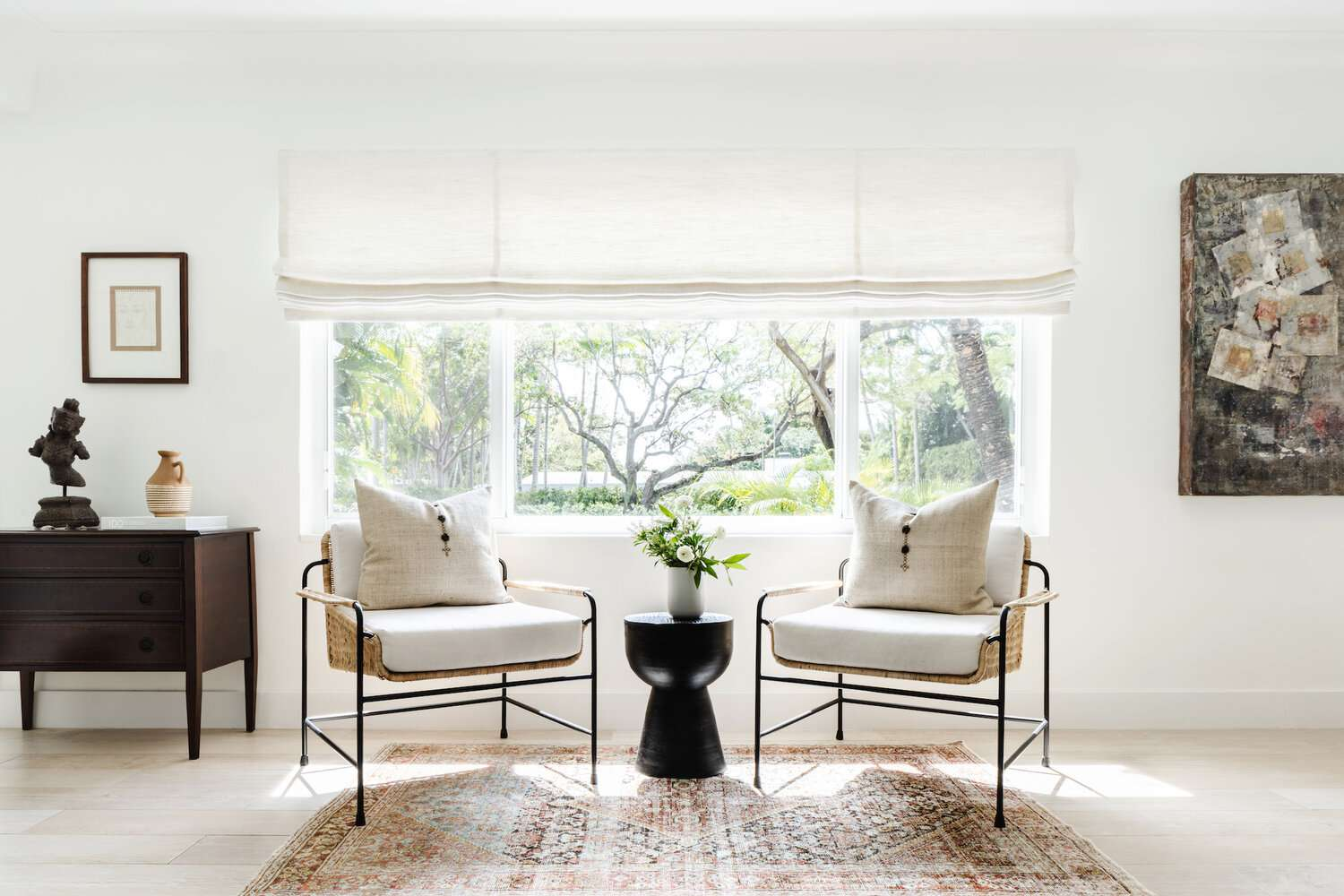 how to clean rugs - traditional rug in clean white sitting area