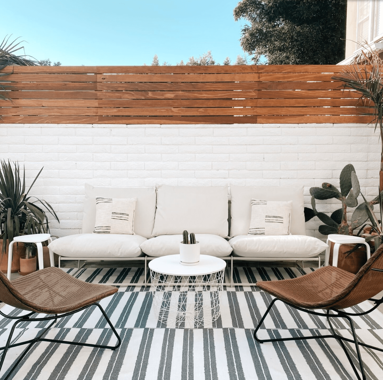 apartment patio with privacy topper