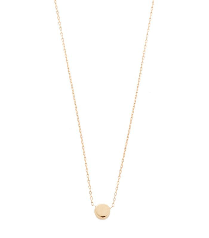 14k Gold Super Tiny Disc Necklace