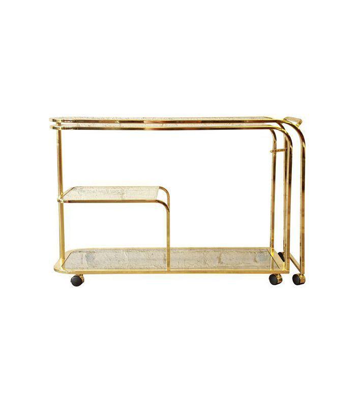 Milo Baughman Expandable Brass and Glass Bar Cart