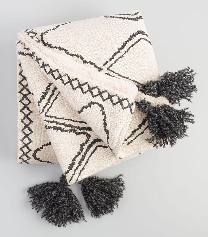 Geometric Print Sherpa Throw Blanket by World Market