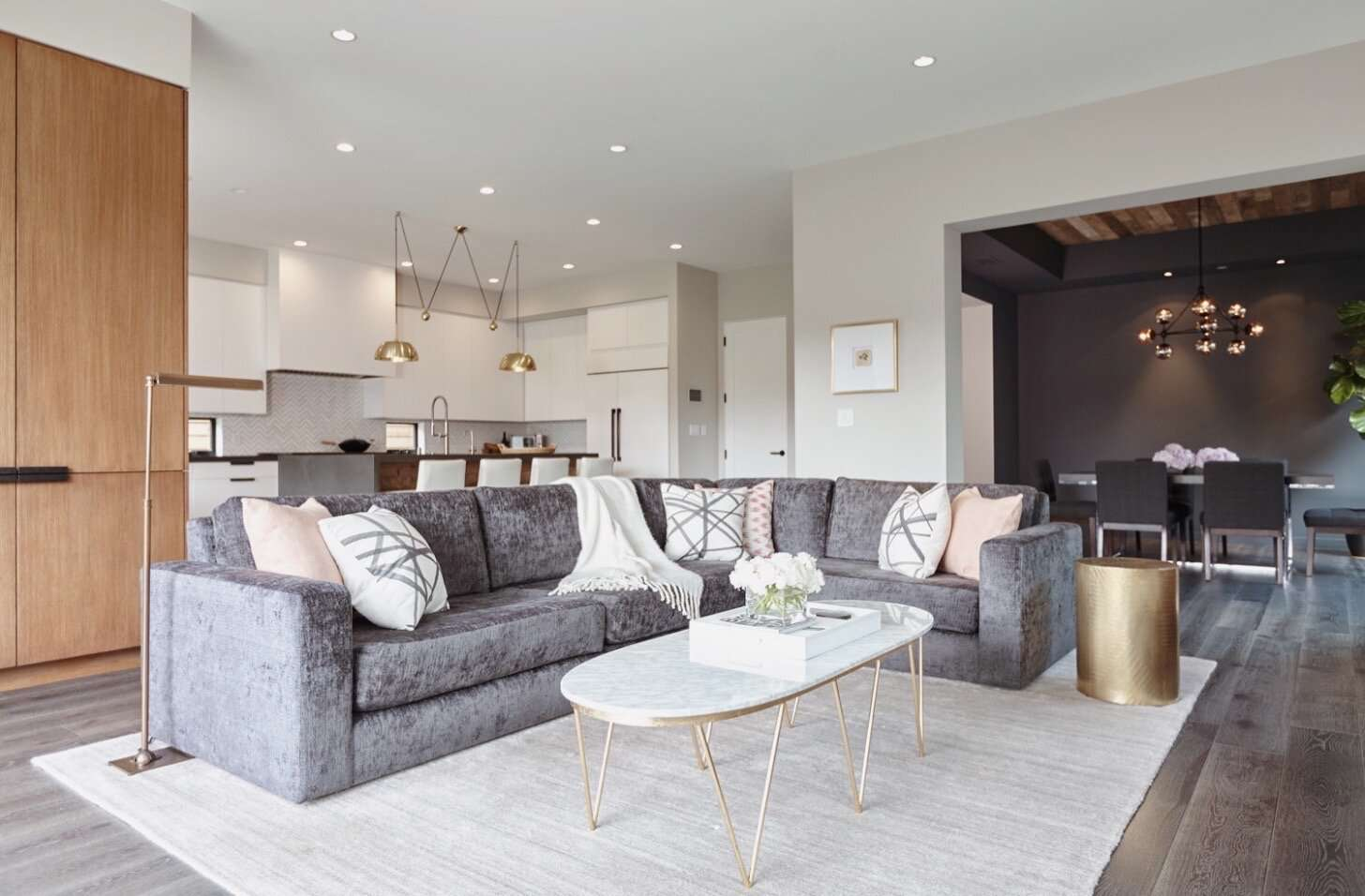 Modern living room with sectional.