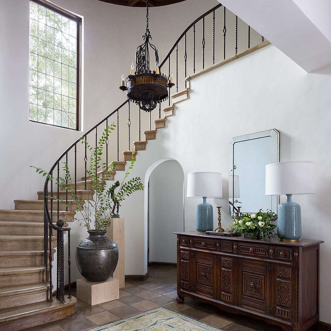 Grand staircase in home.