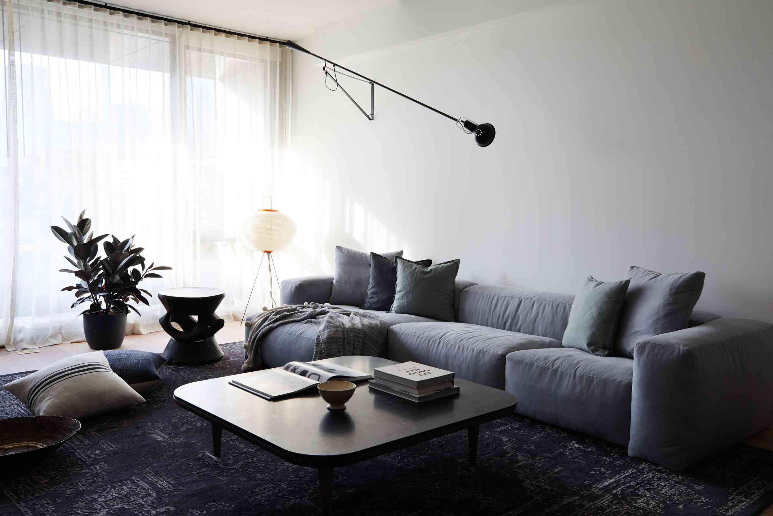 Plush modern family room with curved lines