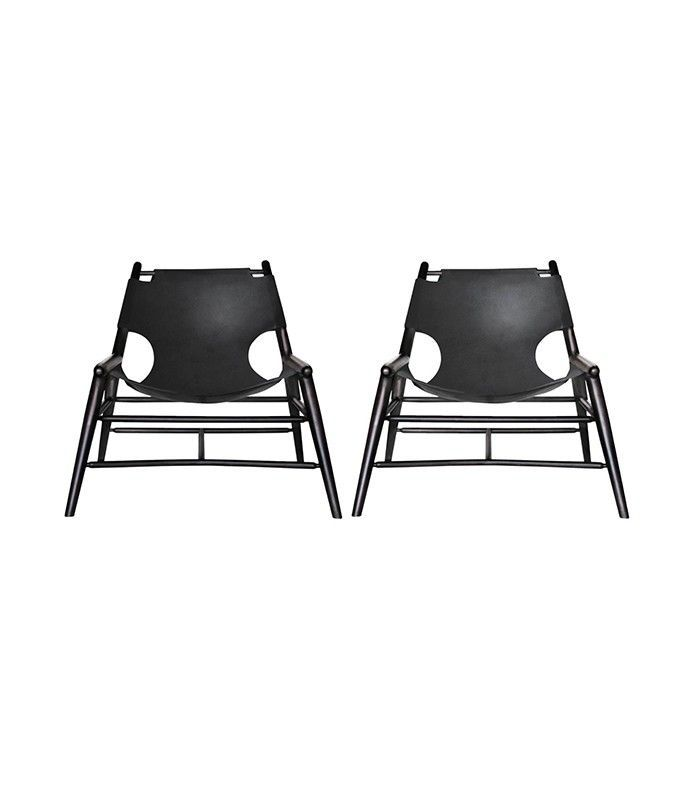 Leather Sling Chairs in black by Anna Karlin