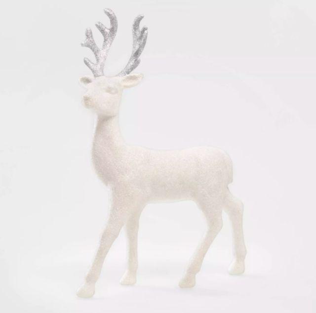 Glitter Deer Decorative Figurine White