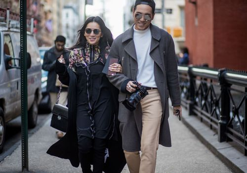 Couple Walking and Smiling