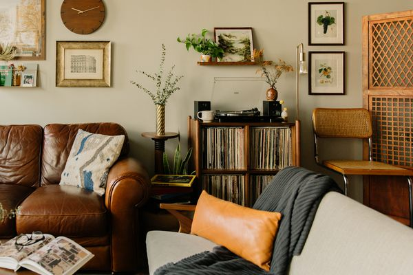 Cozy living space filled with records.