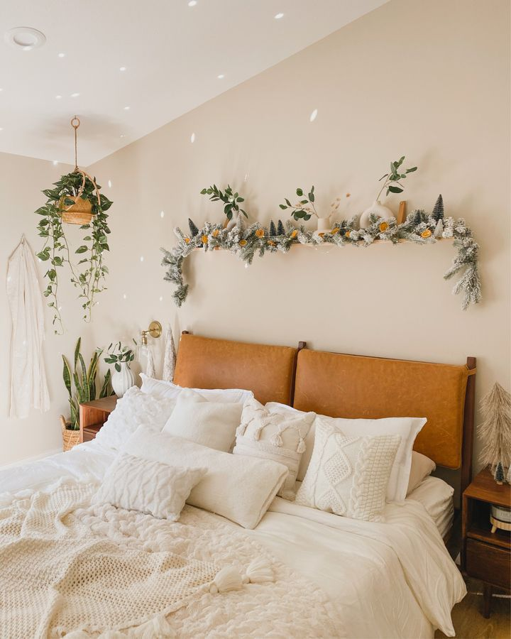 Soft linens create a warm and inviting bedroom.