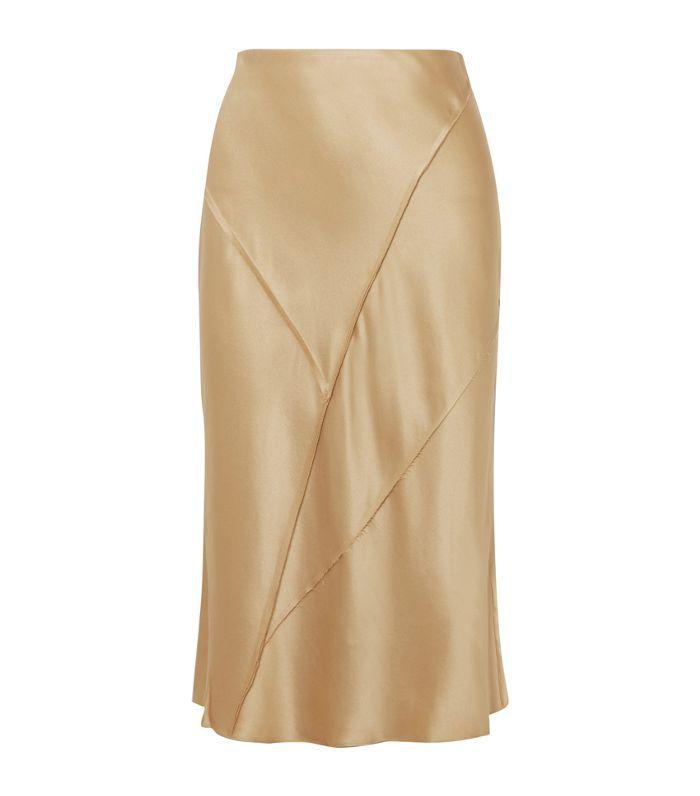 Paneled Silk-satin Midi Skirt