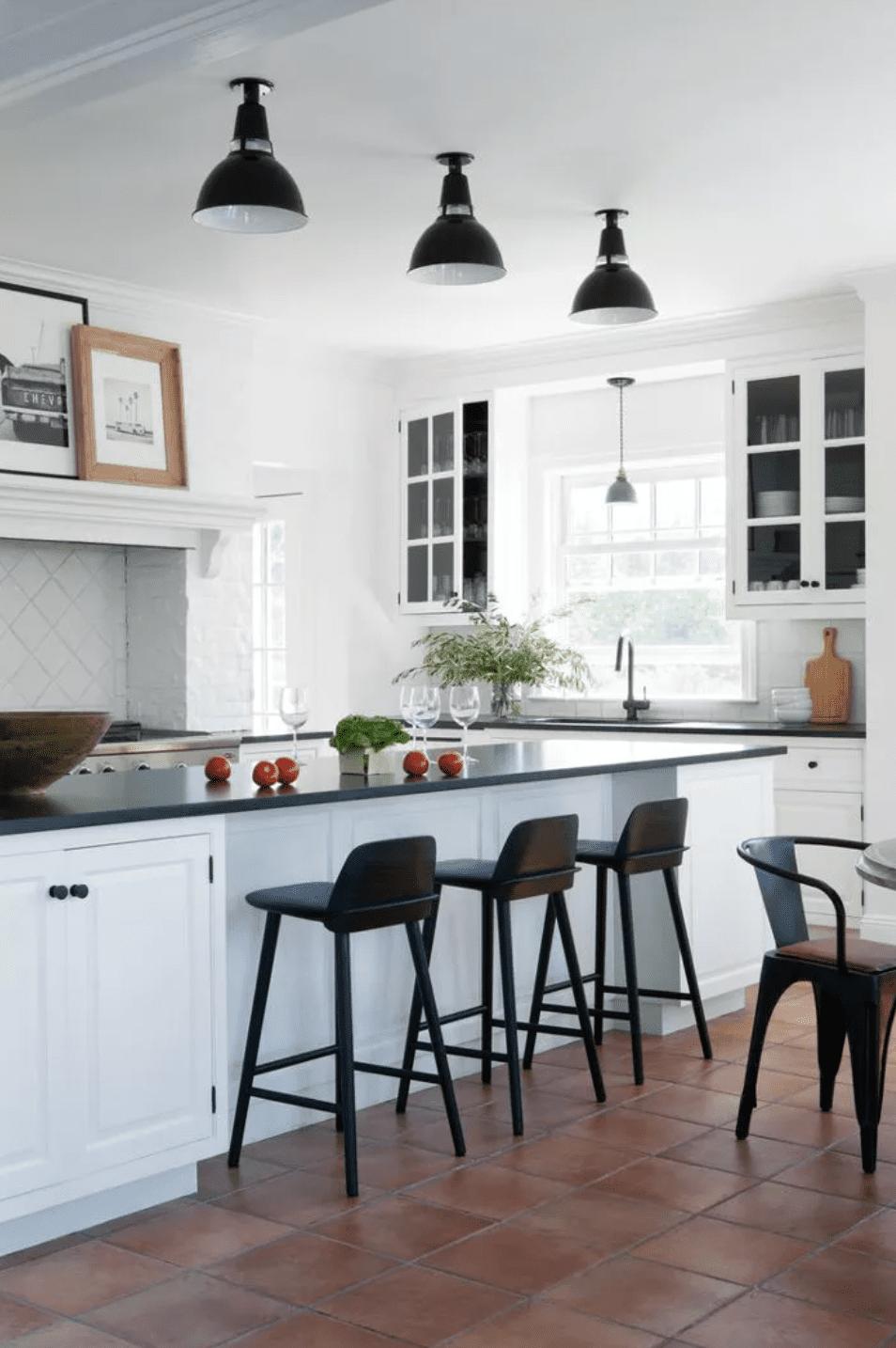 Bright kitchen with dark countertops