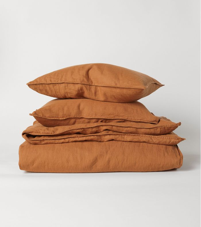 H&M Home Washed Linen Duvet Cover Set