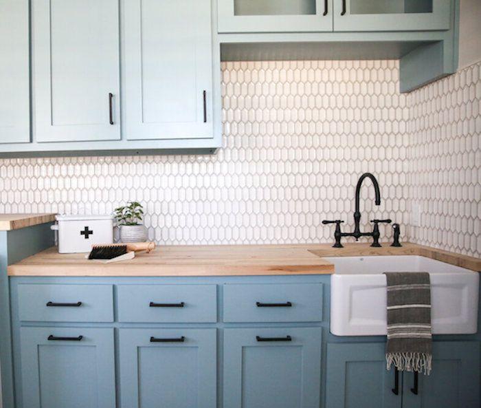 monochromatic blue kitchen cabinets