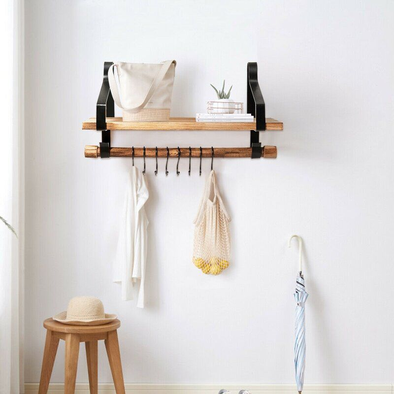accent shelf with towel bar