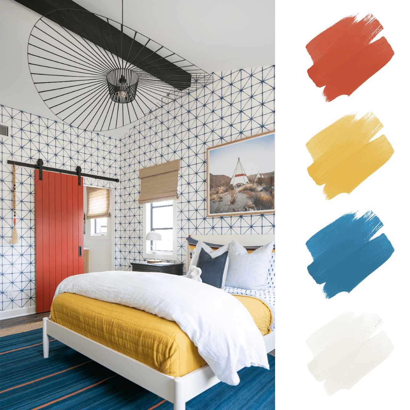 complementary color scheme - child's bedroom with salmon blue yellow and white color palette