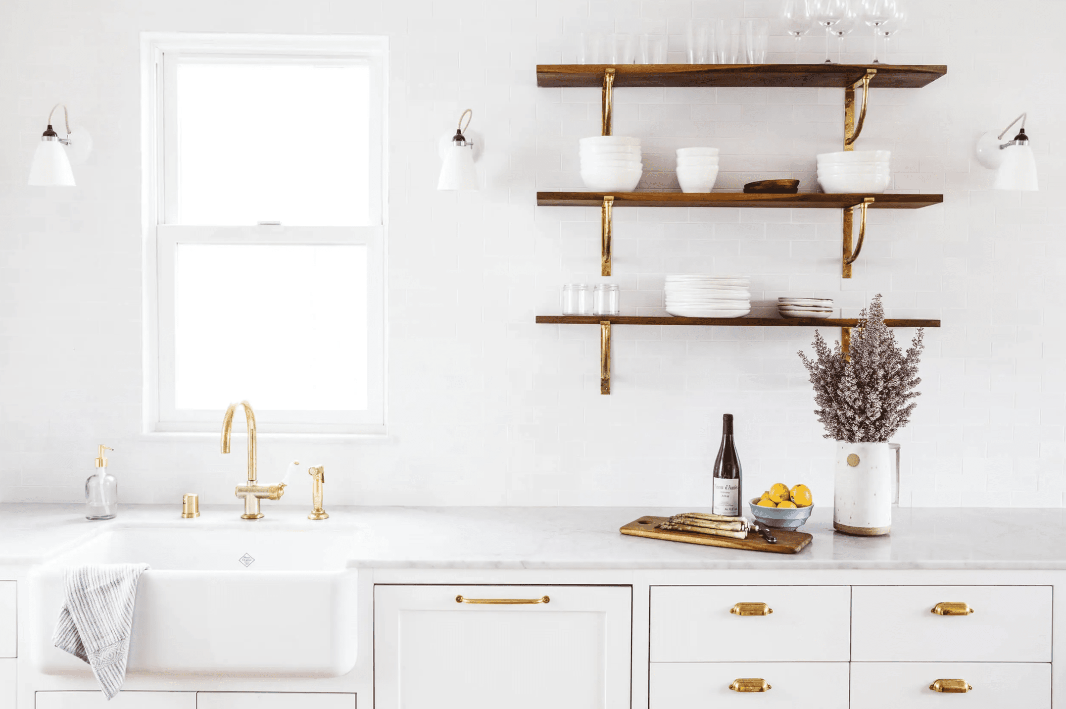 All white kitchen with wood accents