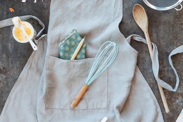 Cooking And Baking Kitchen Apron With Ingredients And Kitchen Utensils