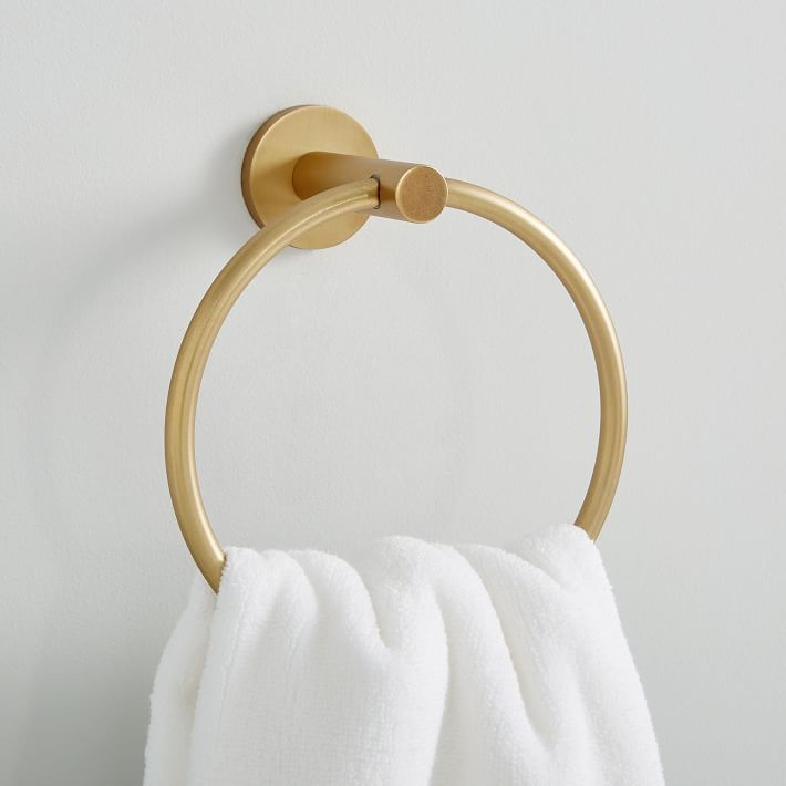 Modern Overhang Towel Ring in Antique Brass