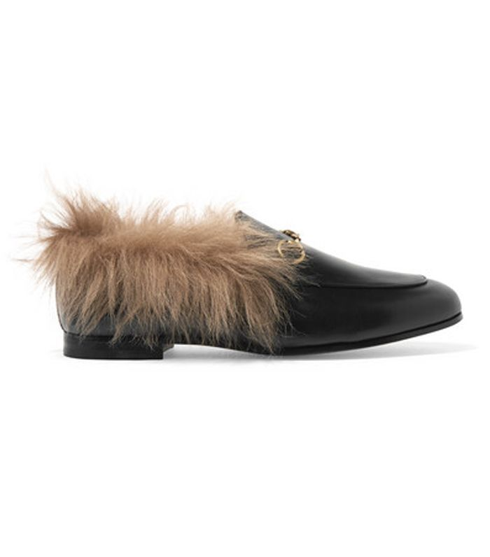 Gucci Jordaan Horsebit-detailed Shearling-lined Leather Loafers