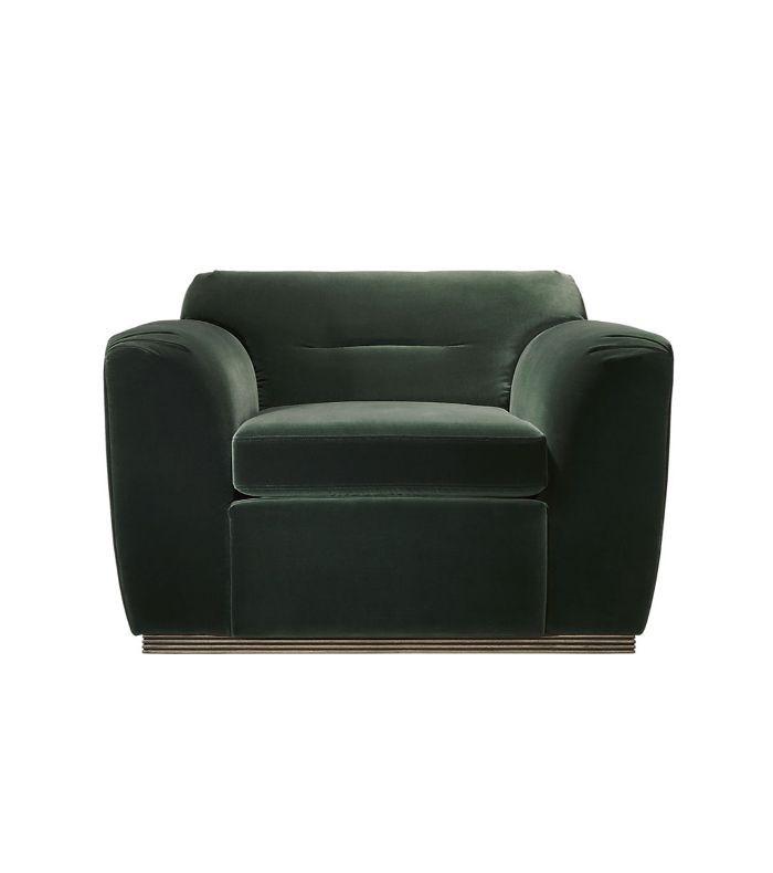 Clive Pleated Spruce Green Velvet Armchair