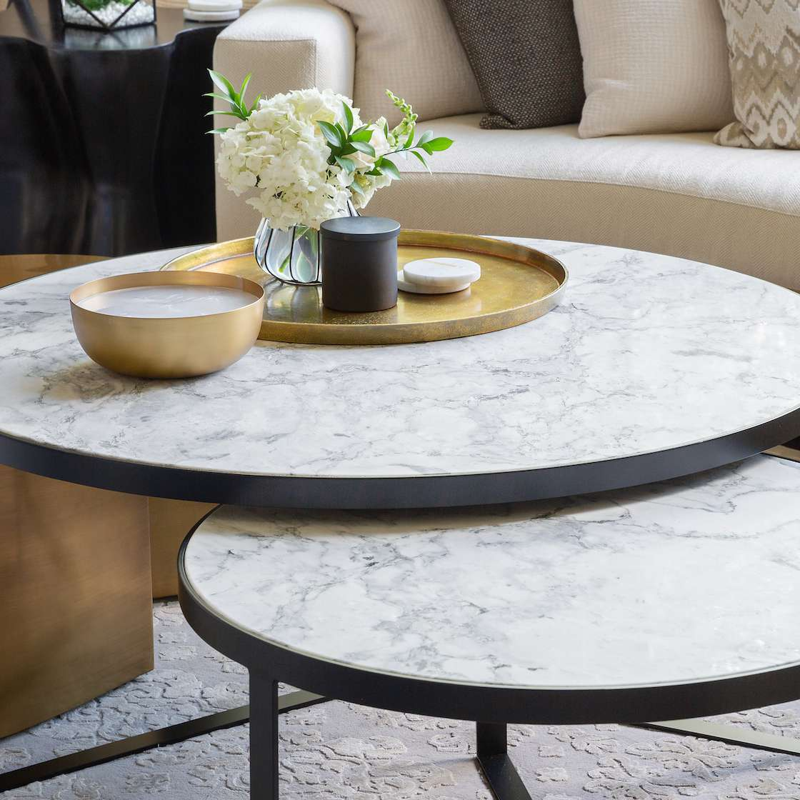 Coffee table with gold accents
