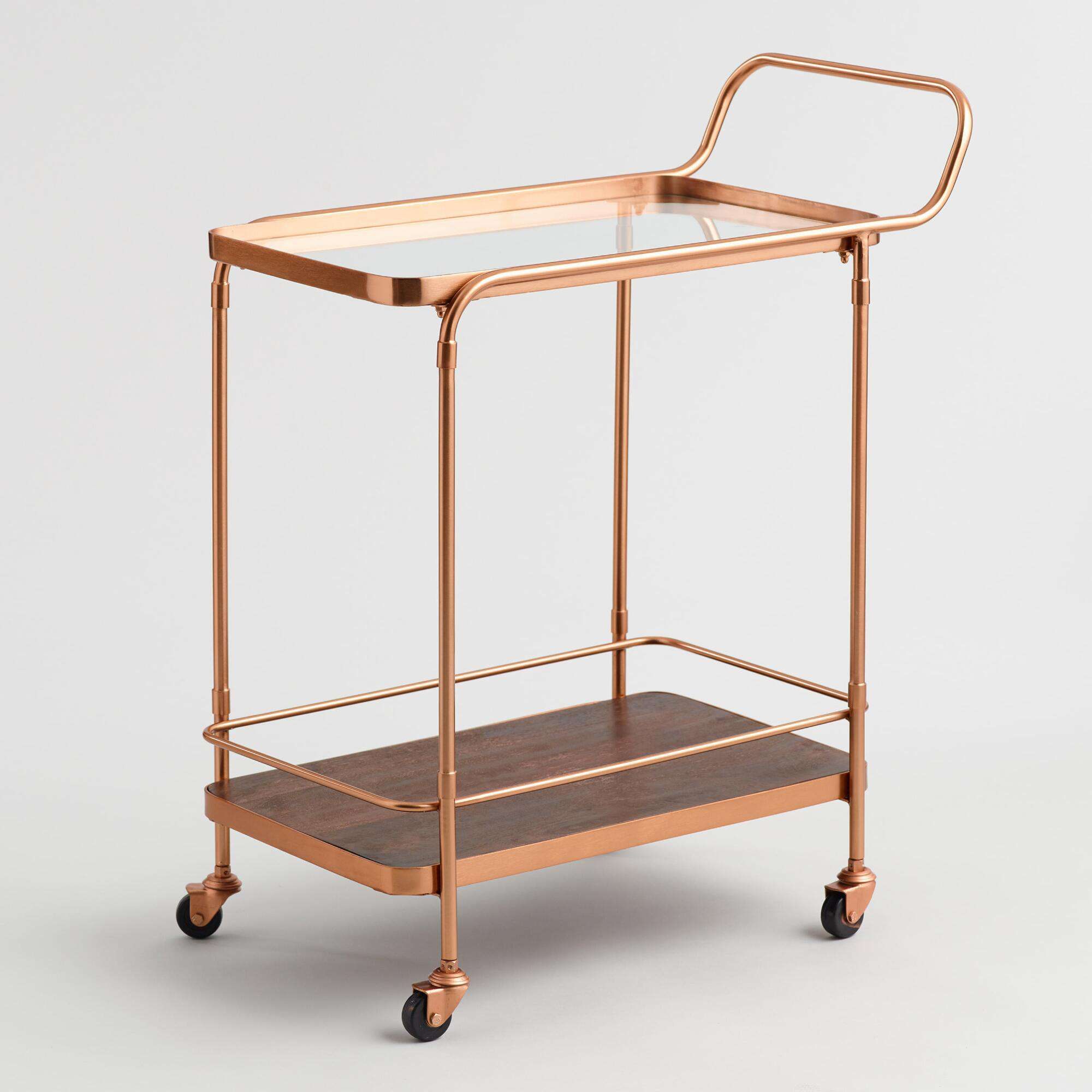 Copper and wood bar cart