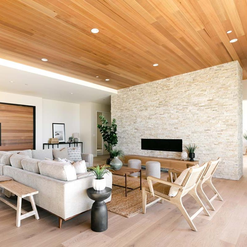 Wood and cream-colored living room