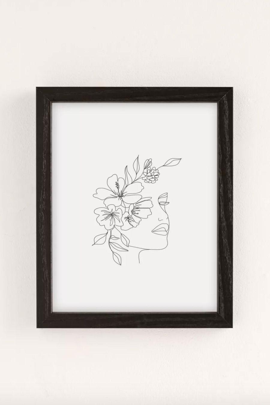 Nadja Minimal Line Art Woman Face II Art Print