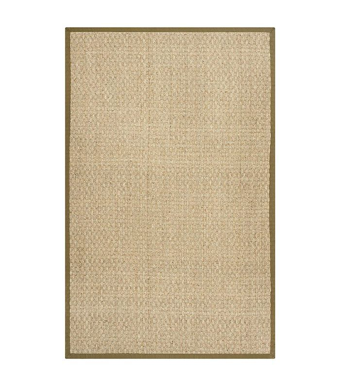 Natural Fiber Collection NF114G Basketweave Natural and Olive Seagrass Area Rug (2' x 3')