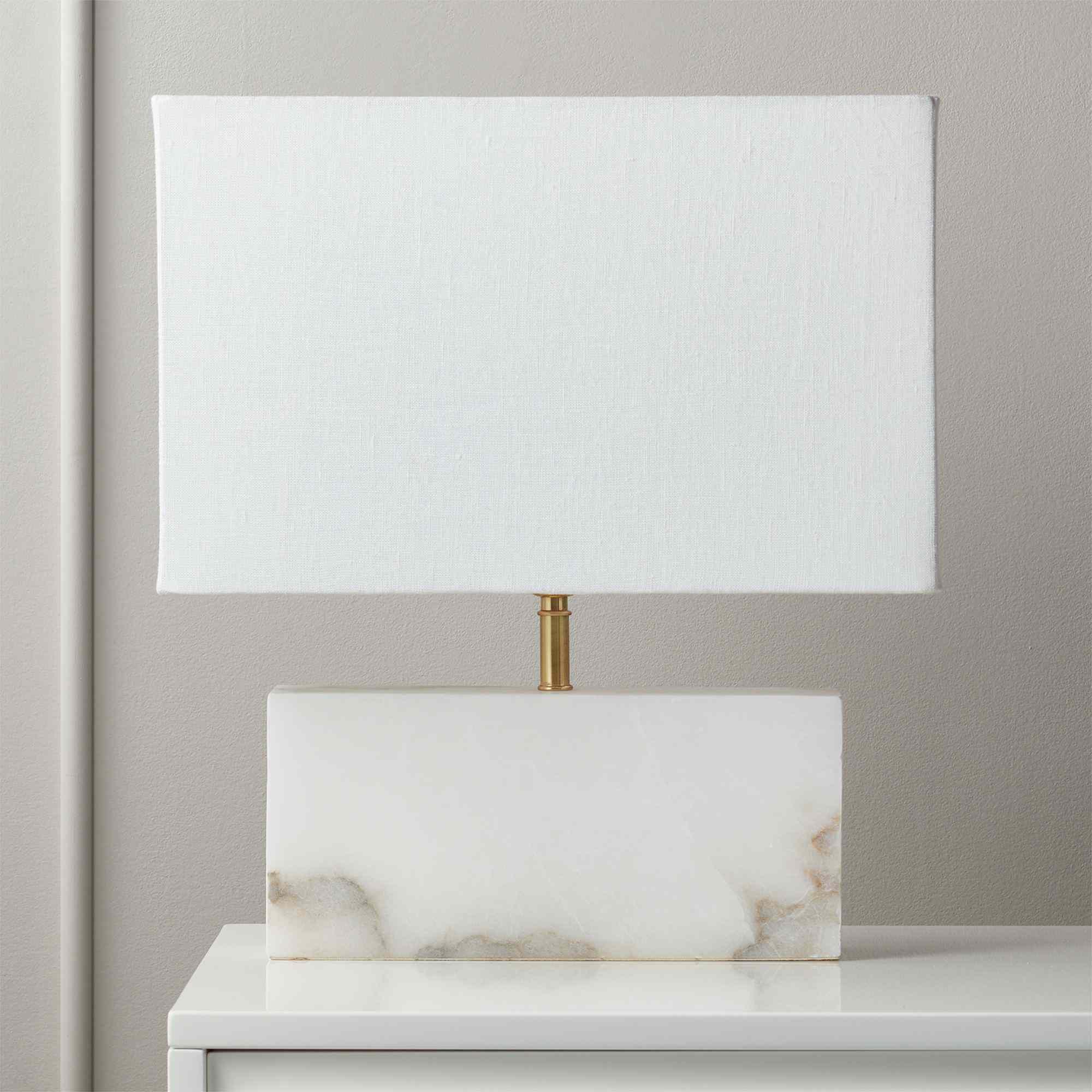 CB2 White Alabaster Table Lamp