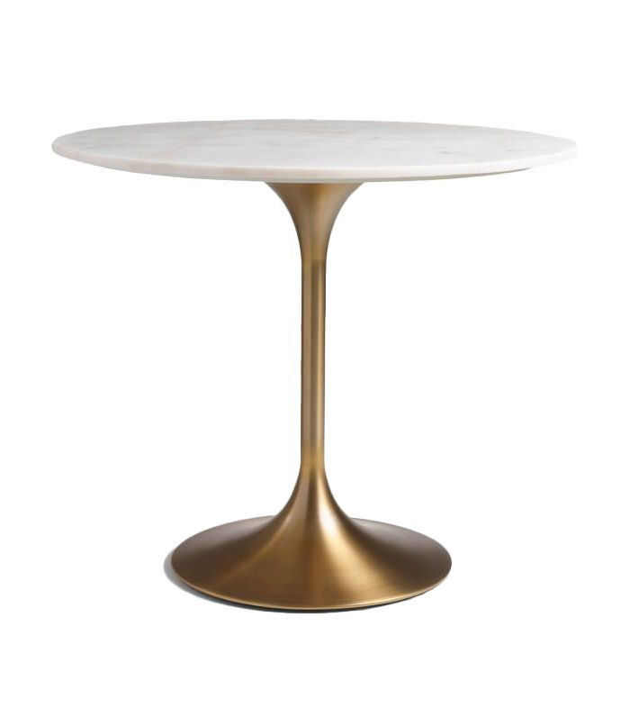 Gold and Marble Leilani Tulip Dining Table: Metallic/Gold - Wood by World Market