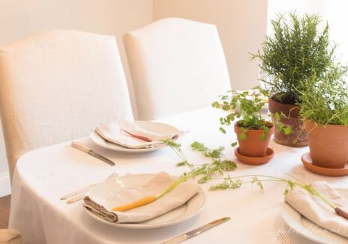 Spring table with silverware.