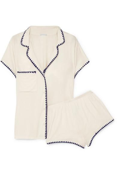 Frida Embroidered Stretch-modal Jersey Pajama Set