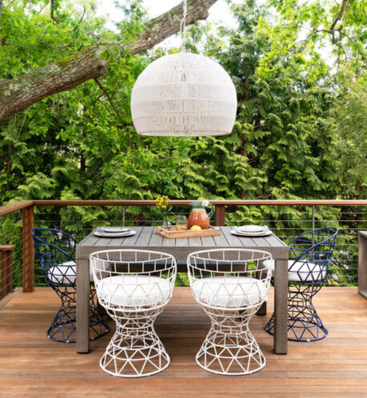 outdoor patio with statement chairs