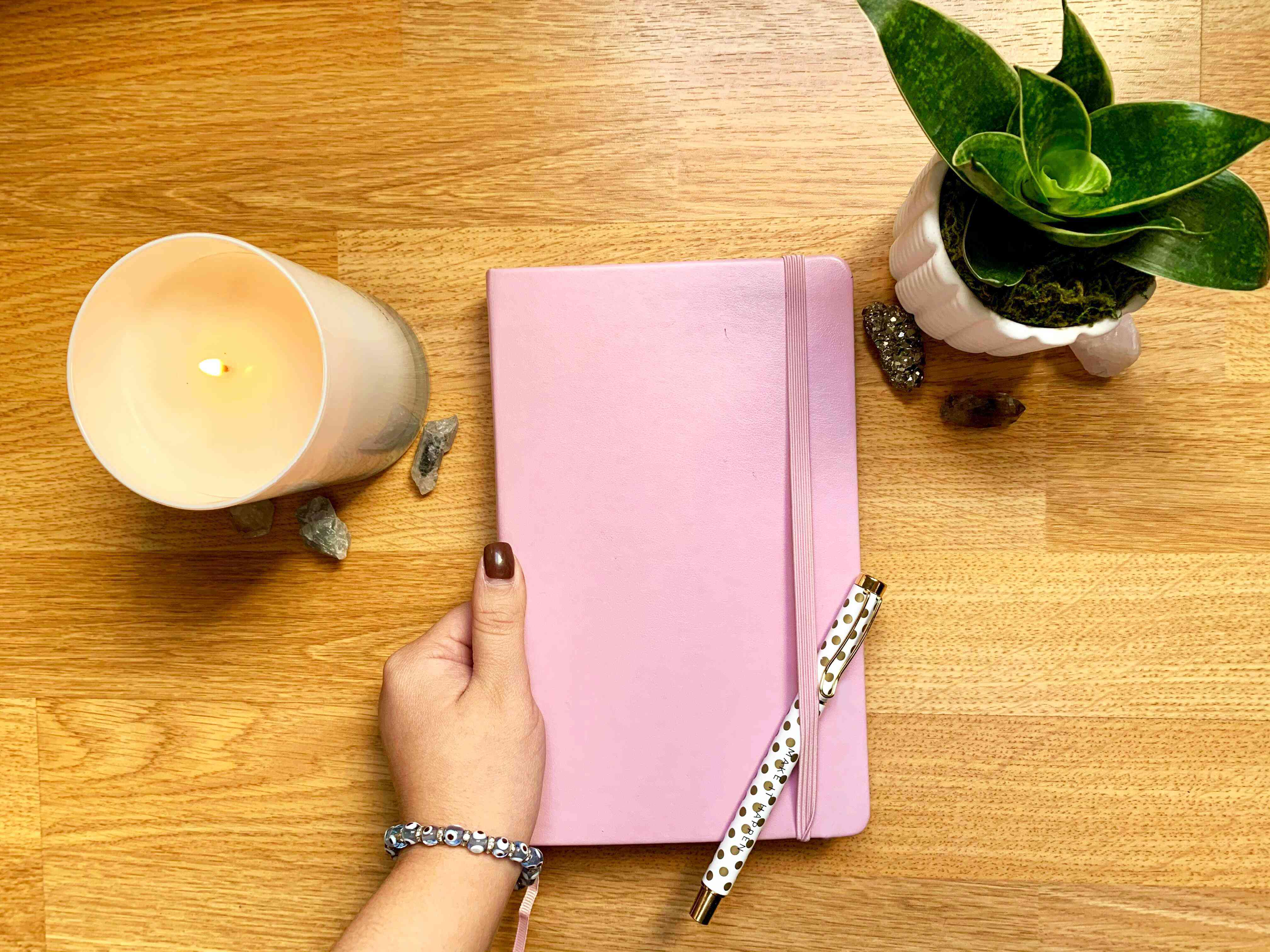Gratitude journal flatlay