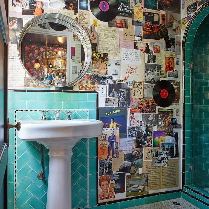 Shay Mitchell—eclectic bathroom design