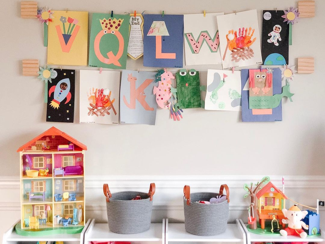 Kids playroom with artwork