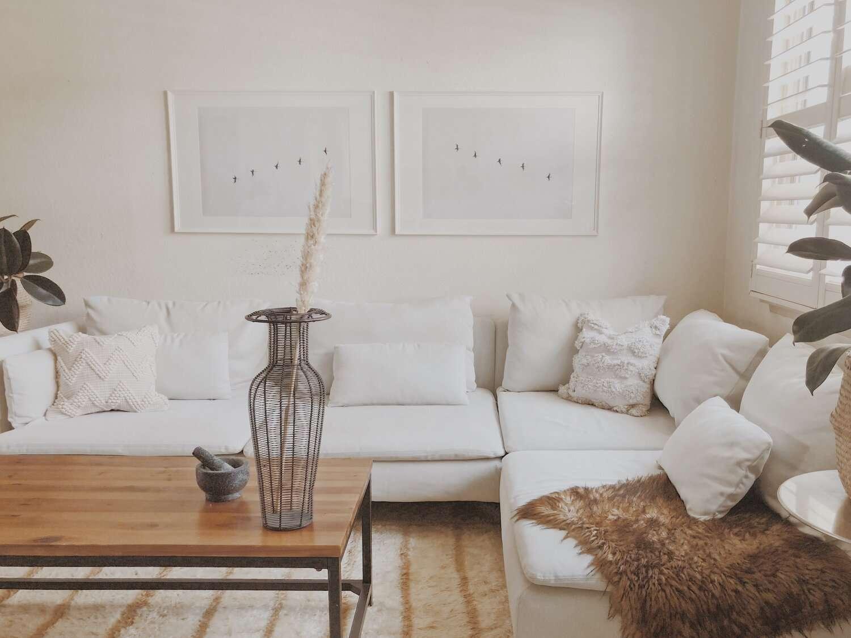 White Scandi inspired living room.