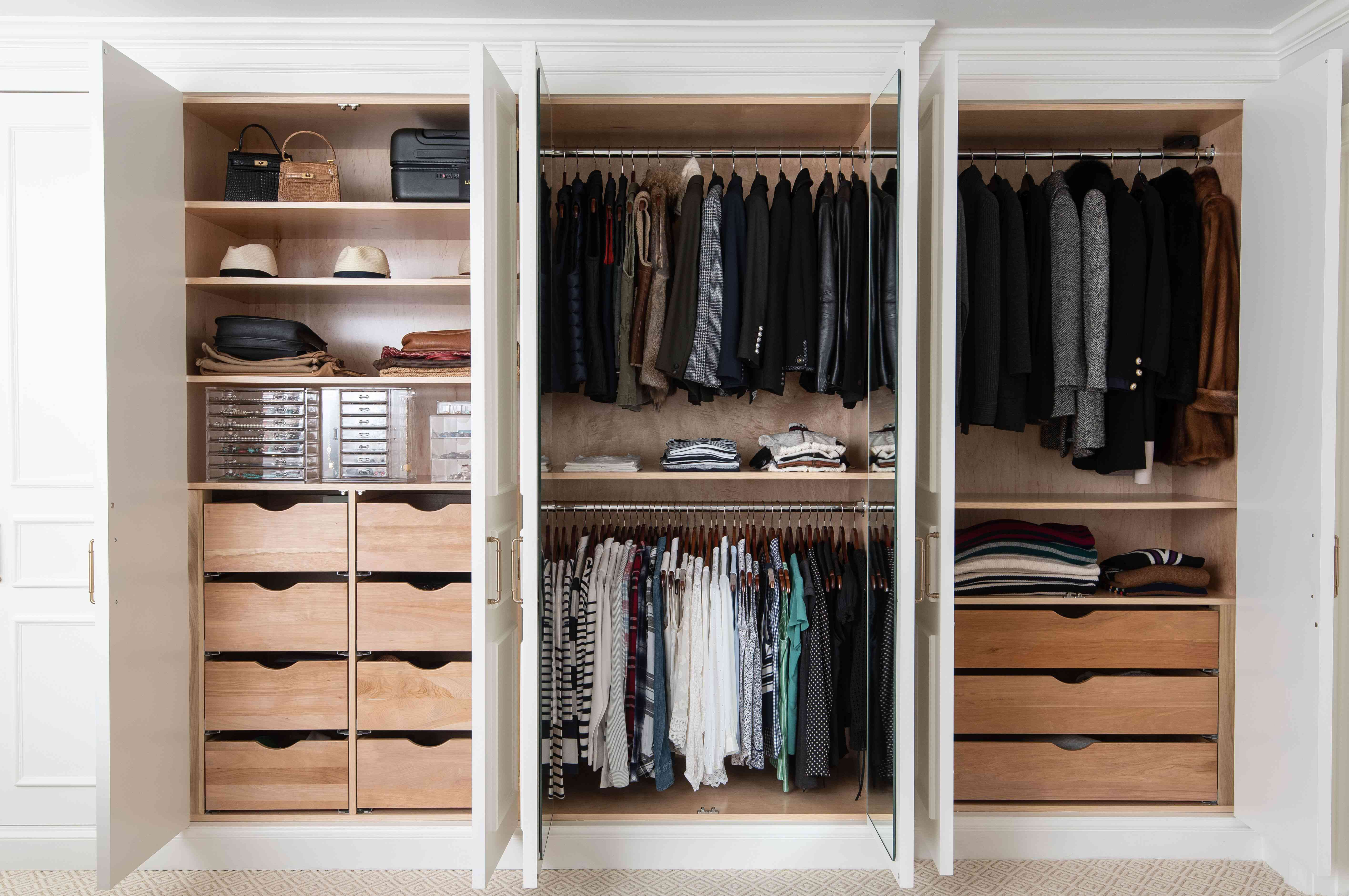 Closet with organized sections