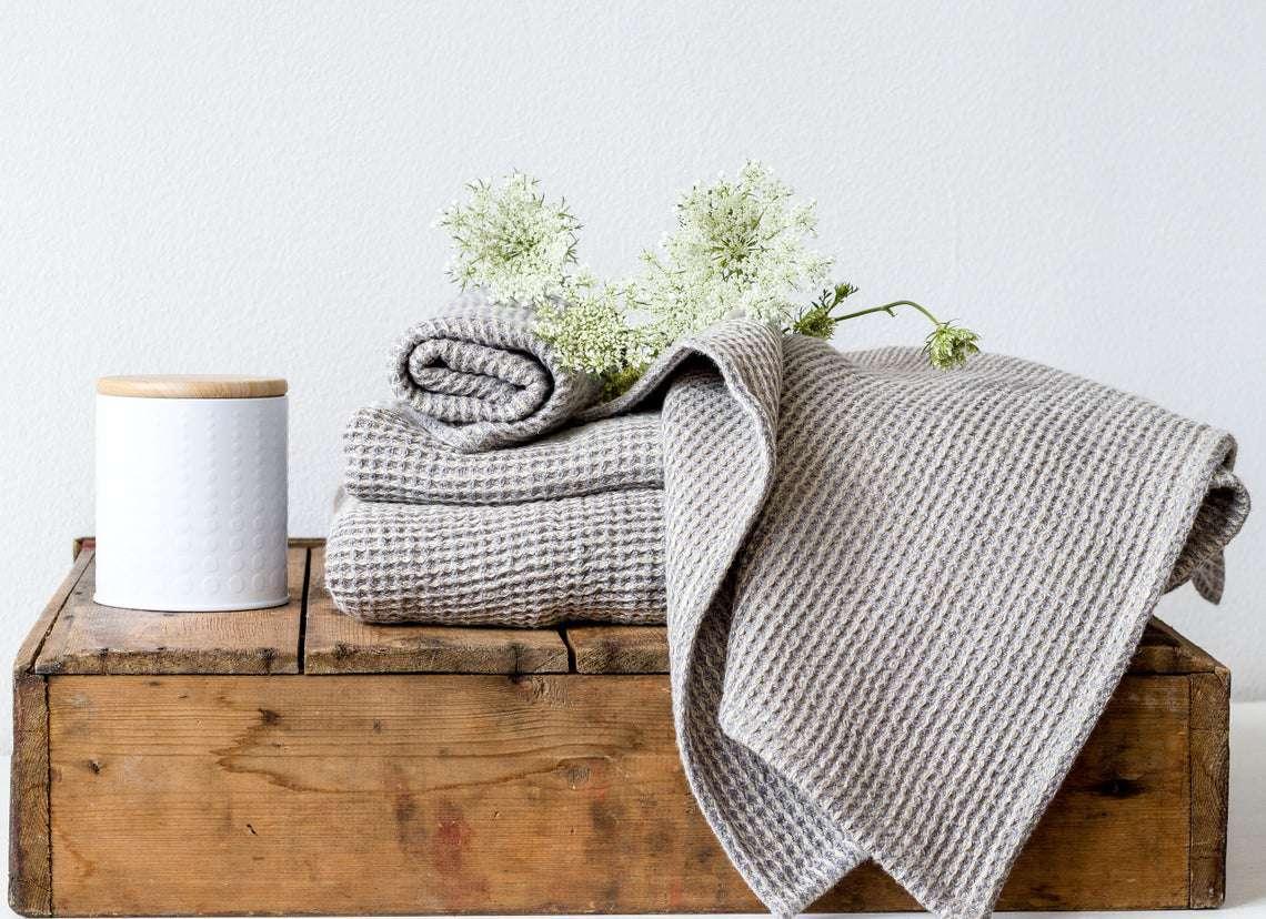 Natural Linen Waffle Bath Towel