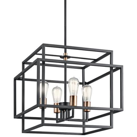 Kichler Taubert Black Steel Open-Cube 4-Light Pendant