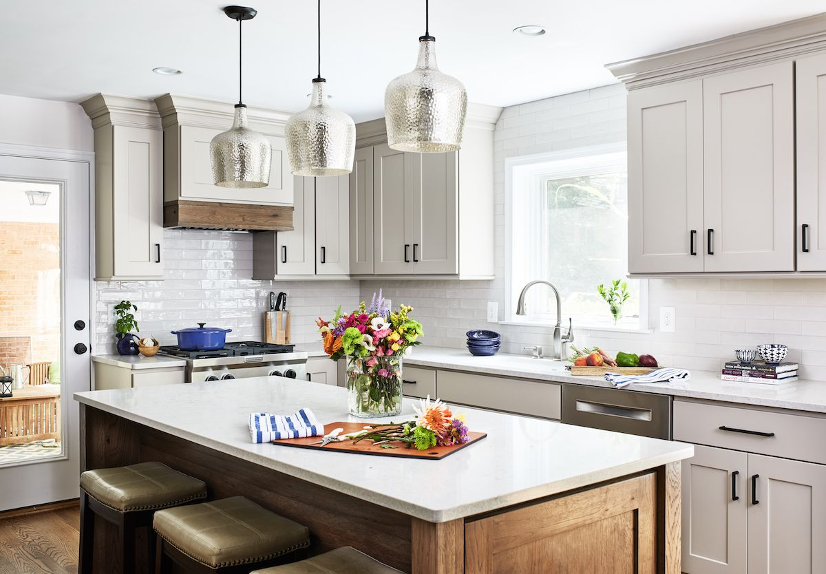 Country style kitchen with wood island