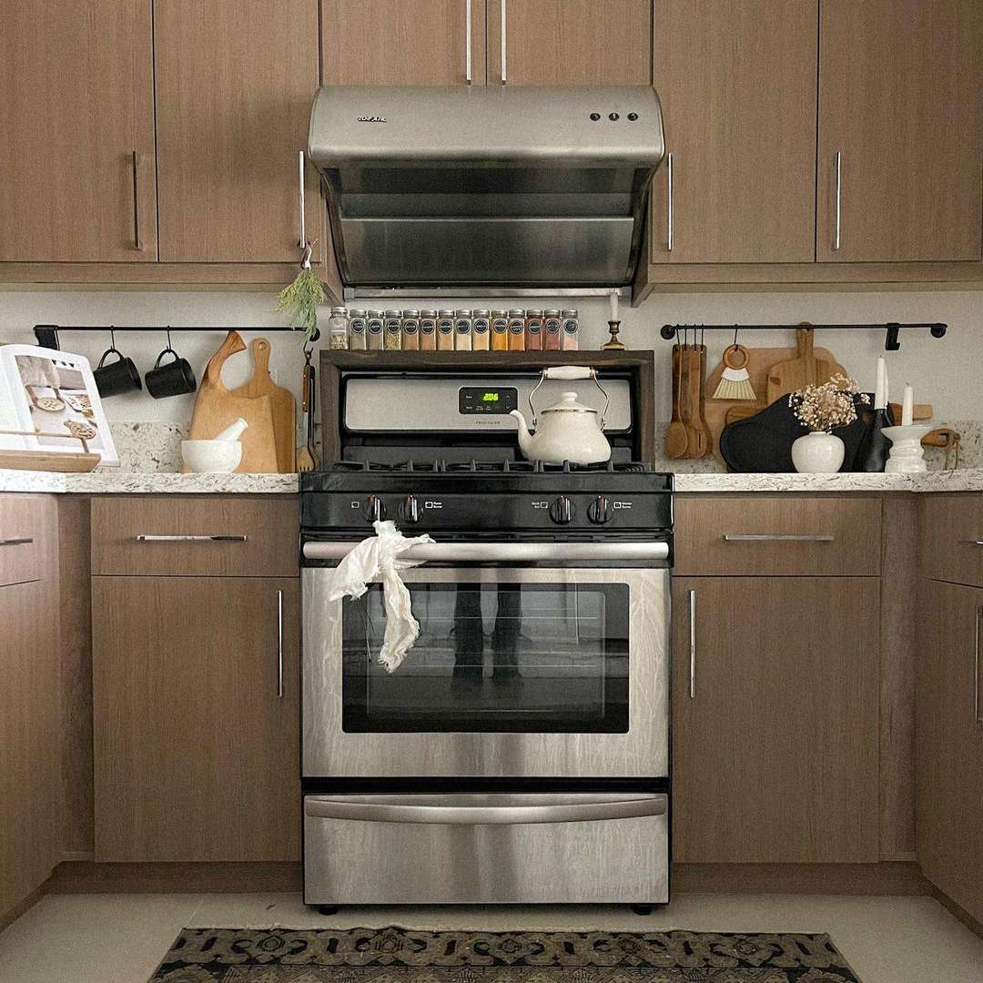Brown cabinets in kitchen