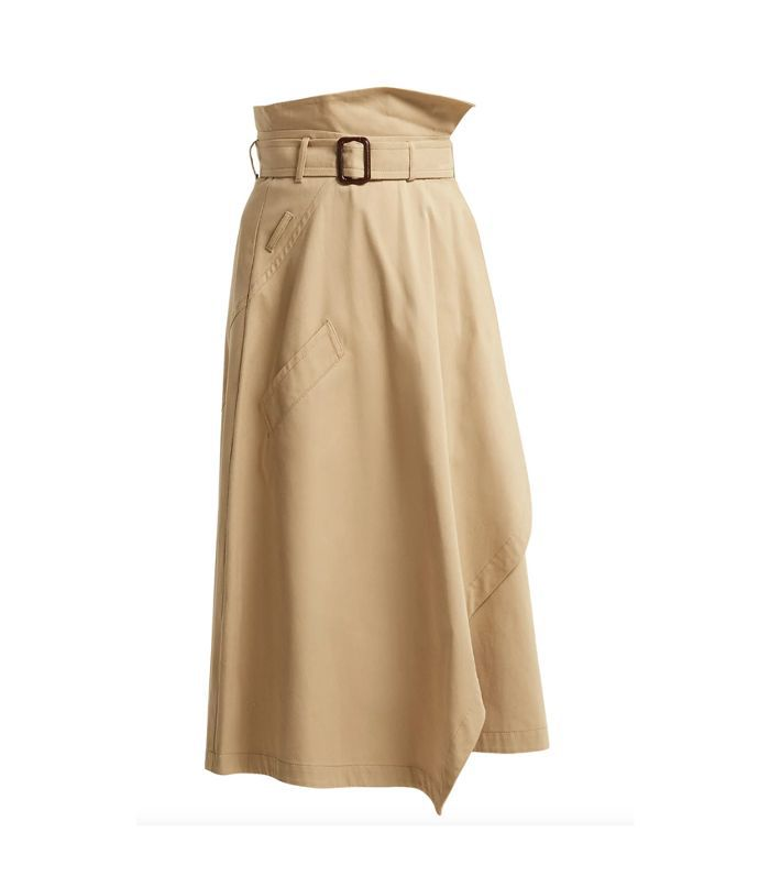 Paperbag-waist cotton midi skirt