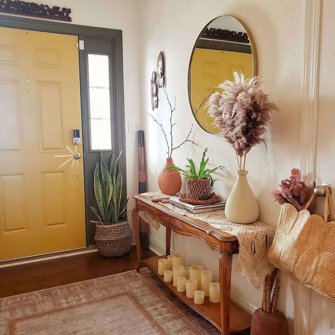 Warm-toned front entryway