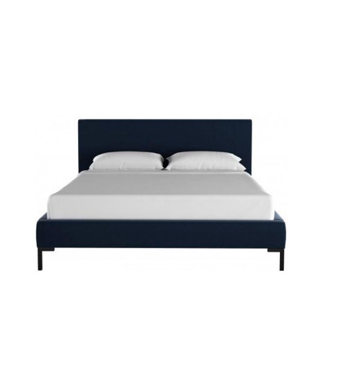 Deva Velvet Platform Bed, Navy