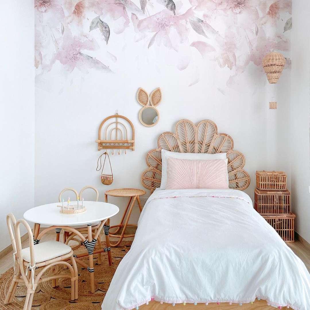 Bedroom with rattan storage