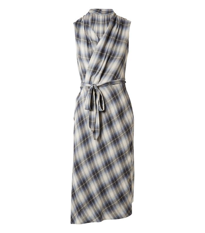 Plaid Cotton-blend Wrap Midi Dress