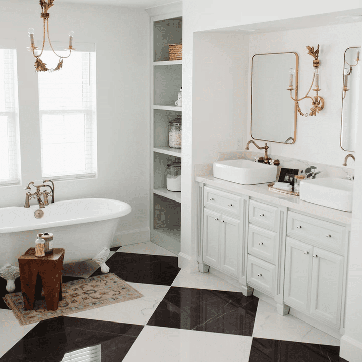 Clean bathroom with black and white checkered floor.