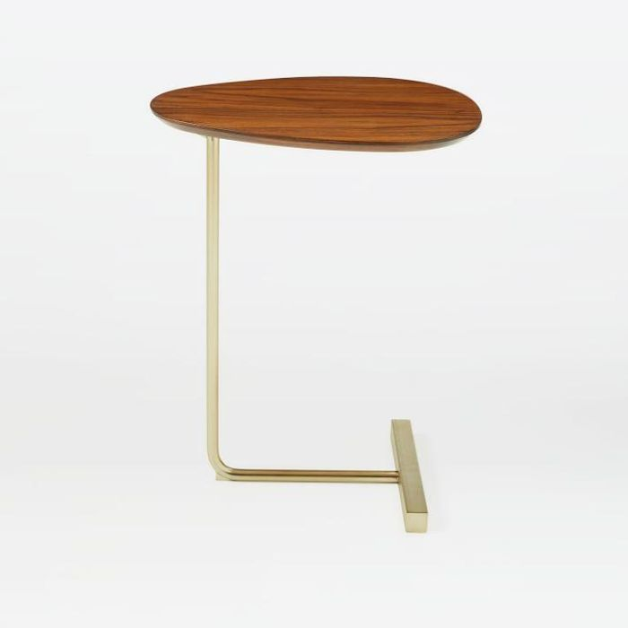 Charley C-Side Table: Walnut / Antique Brass